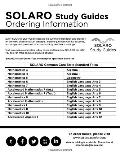 Common Core Algebra II: SOLARO Study Guide (Common Core Study ...