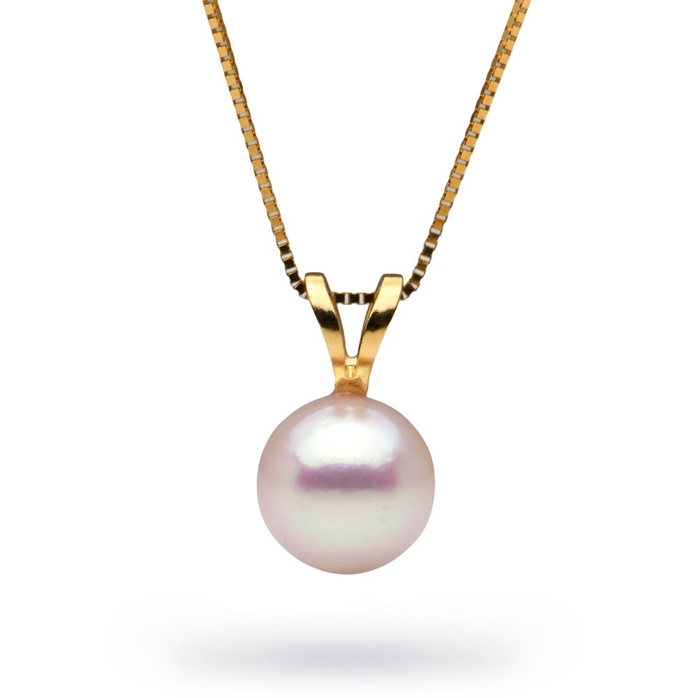 14K White Akoya Cultured Pearl Classic Solitaire Pendant, 7.0-7.5mm, Yellow Gold, 16-Inch Chain
