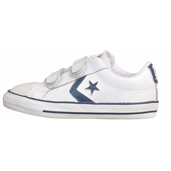 Converse - Zapatillas Star Player 3V OX leather, unisex, white/navy (35, Blanco/Azul marino)