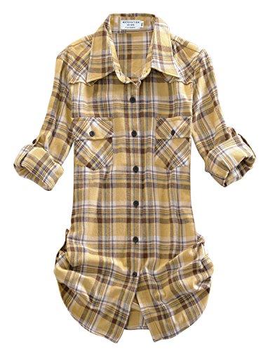 Match Women's Long Sleeve Plaid Flannel Shirt (XX-Large, 2021 Checks#3) (3 Button Flannel)