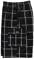 Shaka Men's Plaid Shorts Checkered Pants Loose Fitting Pocket Solid S-5xl (Medium, Burgundy )