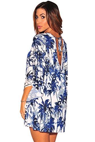 NEW Mesdames imprimé tropical à manches kimono robe Club d'été Porter Casual Party danse Porter Taille L 12–14EU 40–42