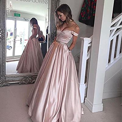 Harsuccting Off The Shoulder Beaded Satin Evening Prom Dress with Pocket at Women's Clothing store