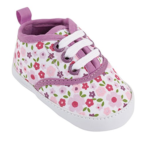 Luvable Friends Girl's Print Canvas Sneaker (Infant), Purple Floral, 0-6 Months M US Infant - 3 Floral Art
