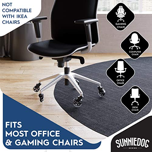 Office Chair Caster Wheels by SunnieDog - Replacement Rollerblade Wheels for Office Chairs - Heavy Duty, Long Lasting Rubber Protection for Hardwood, Tile & Carpeted Floors Without a Mat