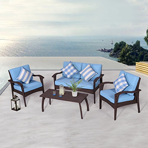 Diensday Patio Outdoor Furniture Sectional Conversation Chair Sofa Sets Deep Seating Cushions Chat Set, with Olefin Cushion, All-Weather PE Wicker, Coffee Table 4 Piece, Sky Blue
