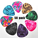 WOGOD Guitar Picks Guitar Plectrums Stylish Colorful Celluloid (0.71mm-50)