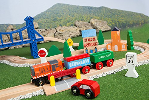 Orbrium Toys 52 Pcs Deluxe Wooden Train Set With 3