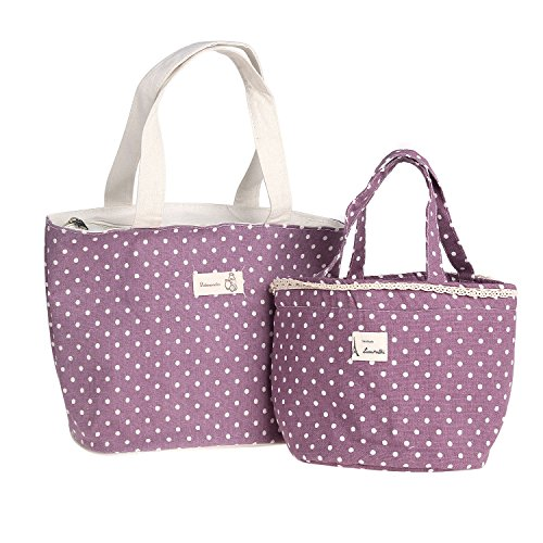 Large Zipper Tote (Danibos Linen Cotton Insulated Large Lunch Tote Bag with Zipper, Pack of 2,)