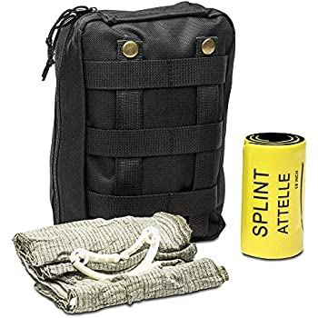 First Aid Kit - Includes Splint & Israeli Bandage - Fully Stocked for IFAK, Military, First Responder, Medic Bag, Tactical, Survival, Camping, Hiking