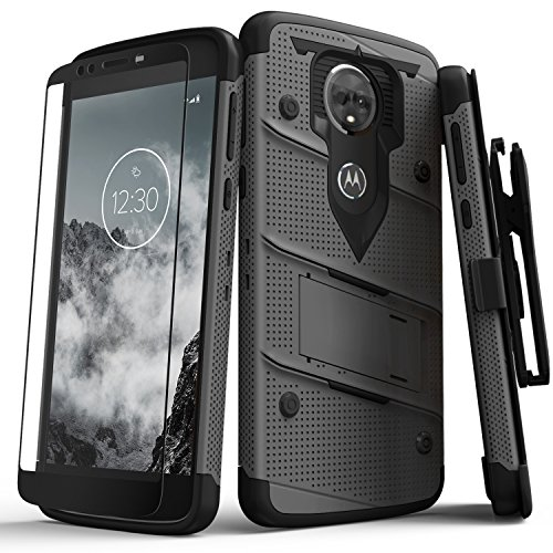 Zizo Bolt Series Compatible with Motorola Moto e5 Supra Case Military Grade Drop Tested with Tempered Glass Screen Protector Holster e5 Plus METALGRAY