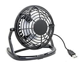 Lajolla® USB Powered Mini Ultra Quiet Cute Desktop Cooling Fan for Bedroom, Office, Outdoor, Etc (Black)