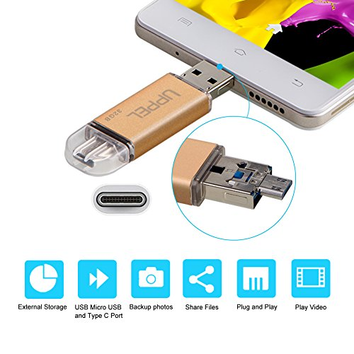 Uppel 32G USB Flash Memory Drive with Micro USB USB2.0 Type-C USB Three in One External Storage Memory Expansion