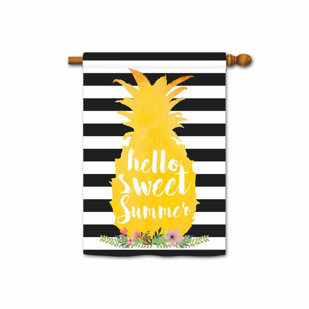 Kafepross Hello Sweet Summer Pineapple House Flag Stripes Seasonal Banner 28''x40'' Print Both Sides