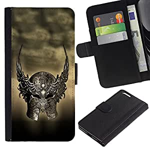 EuroCase - Apple Iphone 6 PLUS 5.5 - Ancient Warrior Winged Helmet - Cuero PU Delgado caso cubierta Shell Armor Funda Case Cover