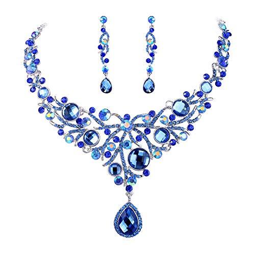 EVER FAITH Deluxe Blue Teardrop Austrian Crystal Pendant Necklace Earrings Set Silver-Tone (Masquerade Company Jewelry)