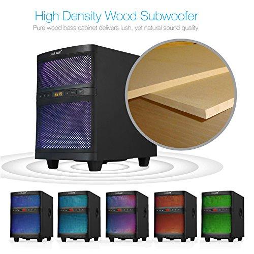 LuguLake TV Sound bar Speaker System with Subwoofer, Bluetooth, Adjustable LED Lights, FM Radio, USB Reader, Composable Floor Speaker by LuguLake (Image #3)