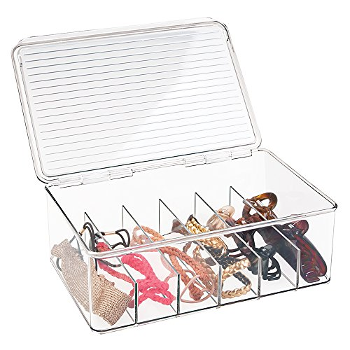 mDesign Hair Care and Accessories, Stacking Organizer for Bathroom Vanity to Hold Clips, Combs, Head Wraps, Elastics, Bobby Pins - 2 Piece Set, Long, Clear