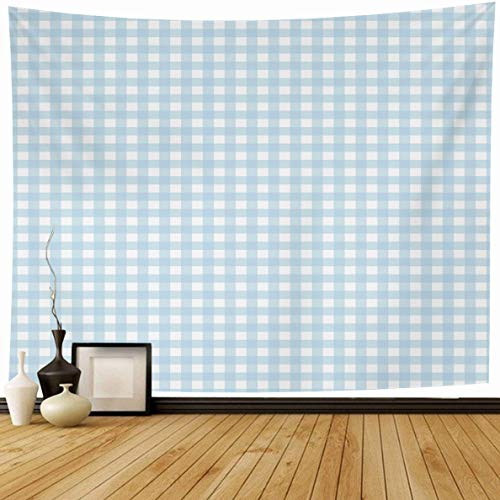 Ahawoso Tapestry 80 x 60 Inches Cook Gingham Checkered Blue Picnic Detail White Abstract Basket Breakfast Design Home Decor Wall Hanging Print for Living Room Bedroom Dorm