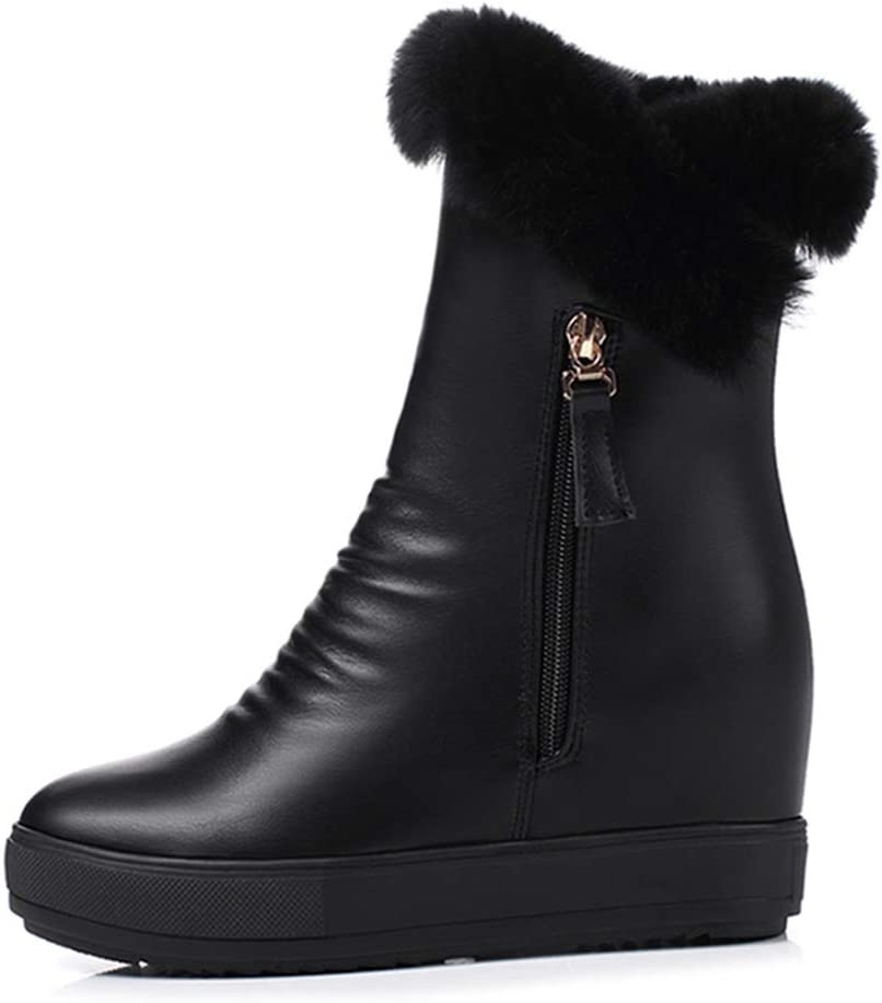 Fay Waters Womens Winter Warm Ankle Height Increase Round Toe Rubber Zipper Plush Snow Boots