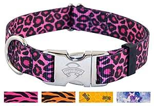 25 - Country Brook DesignPink Leopard Print Premium Dog Collars - Medium