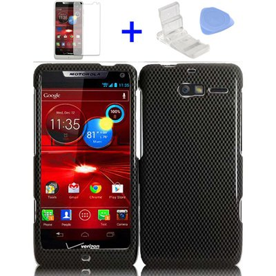 4 items Combo: Mini Video Phone Stand + Clear LCD Screen Protector Film + Case Opener + Black Carbon Fiber Design Snap on Hard Shell Cover Protector Faceplate Skin Case for Verizon (Motorola Razr M) XT907