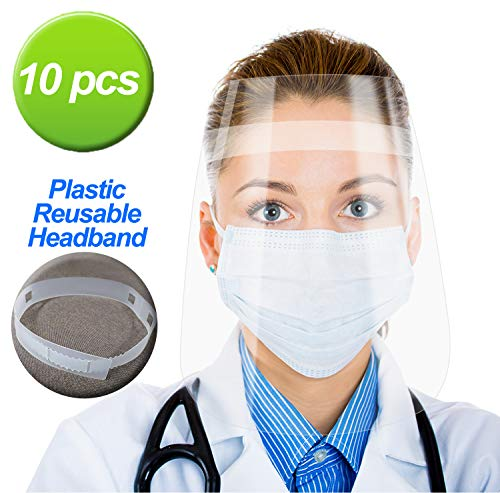 10 Sets Safety Face Shield,Detachable Adjustable Headband,Portable 1.4oz Lightweight,up to 11x16in Large Area Protection…
