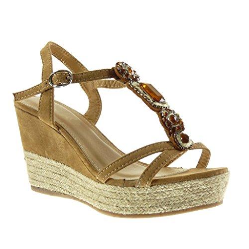Angkorly - Zapatillas de Moda Sandalias alpargatas correa zapatillas de plataforma mujer joyas tanga cuerda Talón Plataforma 9.5 CM - Camel