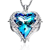 ANCREU Heart Ocean Necklace Love Heart Pendant Necklaces for Women Made with Swarovski Crystals