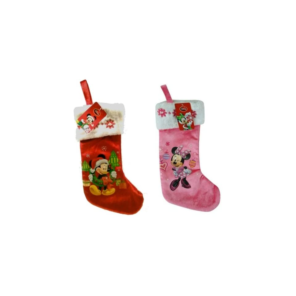 Disney Mickey & Minnie Mouse 16 Velour Stocking with Embroidery on Cuff