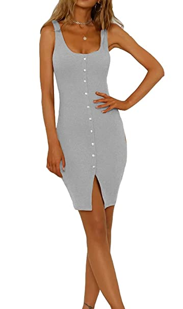 251bbfc47d04 Eliacher Women s Casual Button Down Straps Summer Dress Bodycon Mini Party  Sleeveless Dresses (XS