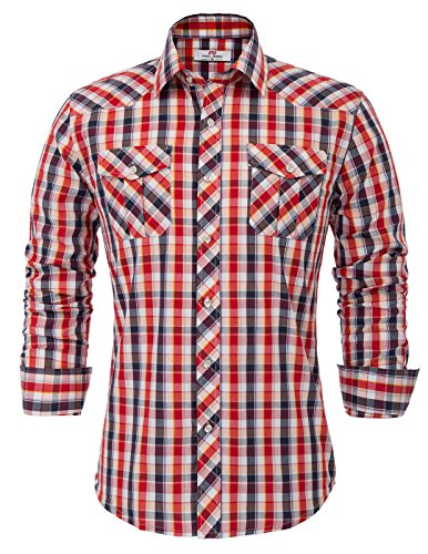 Men's Red Checkered Grid Shirts Long Sleeve Dress Shirt