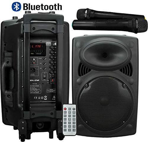 Portable PA 12' Speaker with Bluetooth USB SD MP3 & 2 Wireless Microphones...