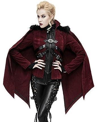 Devil Fashion Femmes Gothique Veste Rouge Velours Manteau Cape Punk Vampire  Fausse Fourrure - Bordeaux Rouge a94ee5a70af