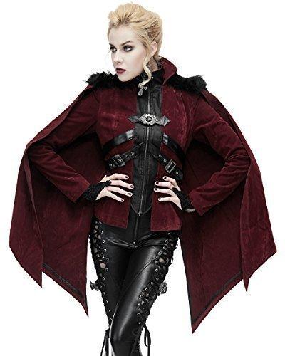 Devil Fashion Mujer Gótico Chaqueta Rojo Terciopelo Capa ...