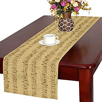 InterestPrint Vintage Pattern Of Music Stave Note Long Table Runner 16 X 72  Inches, Musical Notes Rectangle Table Runner Cotton Linen Cloth Placemat For  ...