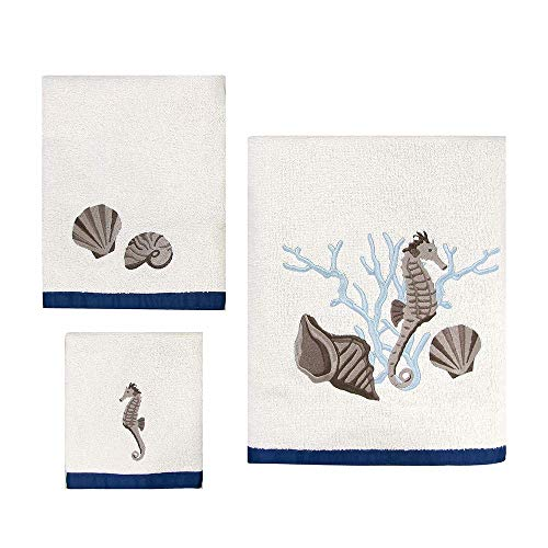 Allure Home Creations Towel Set - Folly Beach 100% Cotton Towel Set 3pc, Bath Towel, Hand Towel and washcloth Included