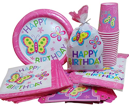 Birthday Treat Plate - HL Enterprise Butterfly Birthday Party Supplies: Butterfly Birthday Plates, Napkins, Cups, Butterfly Birthday Banner and Treat Bags,Serves 18