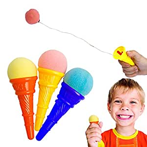 Toy Cubby Colorful Plastic Mini Ice Cream Cone Shooter - 12 Pieces