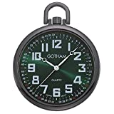 Gotham Men's Gun-Tone Slim Railroad 24 Hour Open Face Quartz Pocket Watch # GWC15027BG