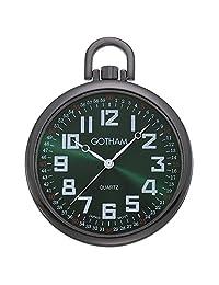 Gotham Men's Gun-Tone Slim Railroad Open Face Quartz Pocket Watch # GWC15027BG