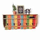 Entryway Wood Shelf Coat Rack / Rustic Rainbow Coat Rack / Reclaimed Wood Shelves / Cast Iron Coat Hooks / Bohemian Decor Blue green