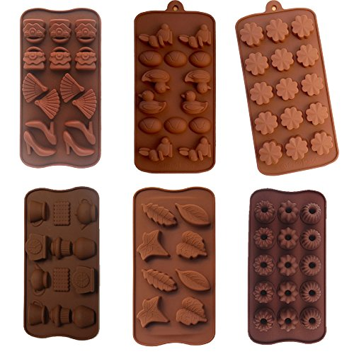 6 Pack nonstick value pack molds of Flower, Leaf, Duck, purse and more baking molds for Candy Chocolate Soap (Ships From USA)