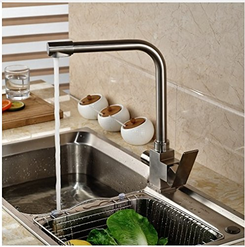 Gowe? Contemporary Brushed Nickle Kitchen Tap Deck Mounted Single Hole Faucet Hot&Cold Water Tap