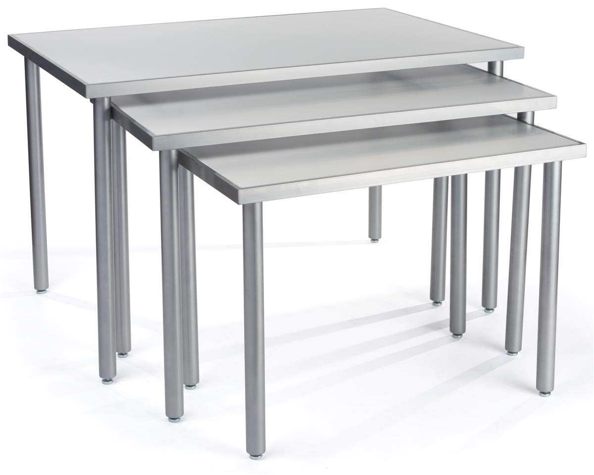 Displays2go, White Nesting Tables for Retail, Steel, MDF, Melamine Build - White, Silver Finish (NST3T48WT) by Displays2go