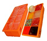 2x CUBED ICE Maker Large Cube Square Tray Molds Whiskey Ball Cocktail Big 2'x2'. ORANGE