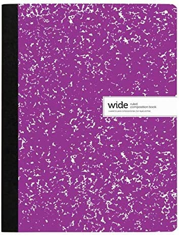 200 Pages Purple Wide Ruled 100 Sheets 9-3//4 x 7-1//2 Office Depot Brand Composition Notebook