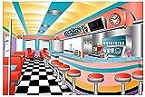 9' Rockin 50's Diner Sock Hop Scene Setter Backdrop Retro Party Supplies