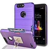 ZTE Blade Z Max / ZTE Blade Zmax Pro 2/ ZTE Sequoia Case With Phone Stand,Ymhxcy [Credit Card Slots Holder][Brushed Texture] Hybrid Dual Layer Shockproof Protective Cover For ZTE Z982-LCK Purple