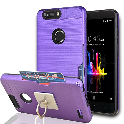 Rubberized Purple Rhinestones (ZTE Blade Z Max / ZTE Blade Zmax Pro 2/ ZTE Sequoia Case With Phone Stand,Ymhxcy [Credit Card Slots Holder][Brushed Texture] Hybrid Dual Layer Shockproof Protective Cover For ZTE Z982-LCK Purple)
